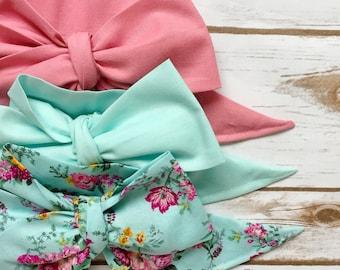 Gorgeous Wrap Trio (3 Gorgeous Wraps)-Vintage Pink, Pistachio & Vintage Garden Floral Gorgeous Wraps; headwraps; fabric head wraps