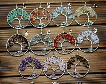 11 Stones choice,3pcs 50mm Tree of Life Wire Wrapped Chip Beads Silver Plated Copper Pendants Nugget Stones Round Circle Charms Necklace