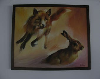 Original oil painting of a Fox and hare.