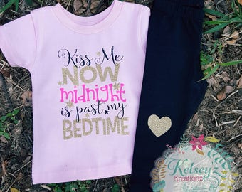 Kiss me now midnight is past my bedtime, new years tee, New Years