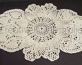 Hand made Cream Fine #20 Cotton Oval Lacy Crochet Pineapple Doily, brand new from Australia