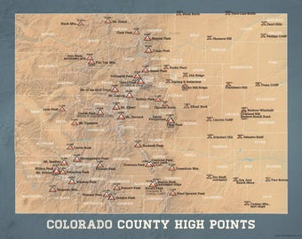 Colorado County Map Etsy - Colorado county map