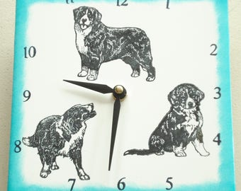 "Ceramic tile Bernese Mountain dog clock, 6"" square, teal border"