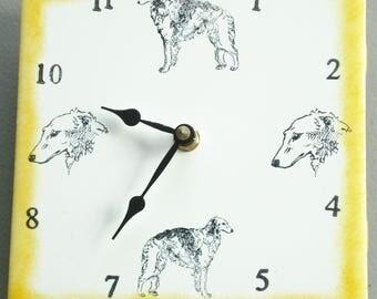 """Ceramic tile Borzoi dog clock, 6"""" square, yellow border"""