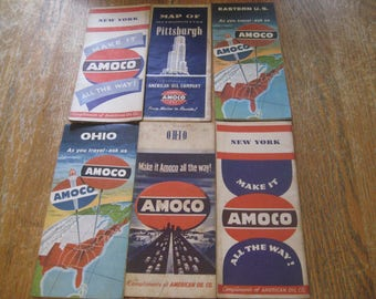 Vintage Amoco Gas & Oil Tour Guide Road Maps 1950's, 60's Lot of 6