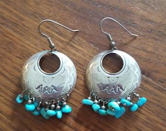 Beautiful 925 turquoise dangle earrings southwest design