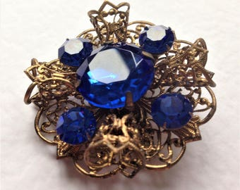 Vintage Brooch,Filigree Brooch, Art Deco Brooch, Czech Brooch, Bohemian Brooch, Blue Vintage Brooch