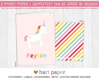 Rainbow Unicorn Stripes 2 Pocket Folder Gift Name Monogram Back to School Supplies Teacher Birthday Girl Kids | Custom Personalized