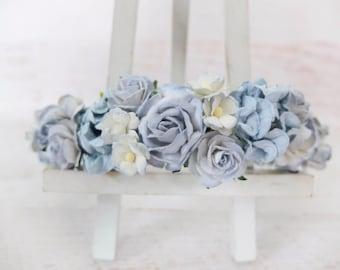 Light blue wedding flower crown - bridal head wreath - floral headpiece girl