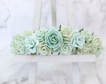 mint green wedding flower crown floral hair wreath adult flower headpiece girl bridal