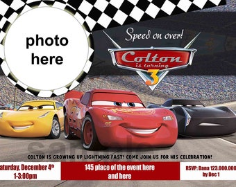 Disney Cars Birthday Invitation. Disney Cars Invitation. Disney Cars Party. Digital (you print) With or Without Photo