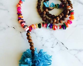 Havana necklace, boho necklace, wooden bead necklace, pom pom necklace, handmade necklace, shell necklace