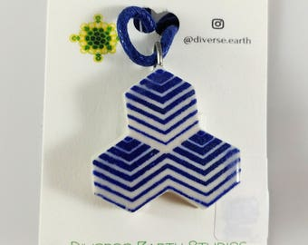 Hexagon Blue and White Porcelain Necklace