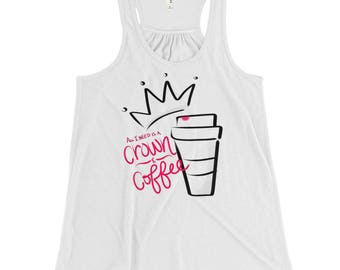 Pageant Girl Crown and Coffee Racerback White Tank - Black Text
