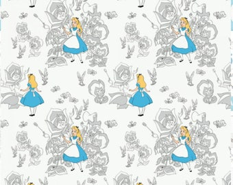 Camelot - Alice in Wonderland - Golden Afternoon Toile - Disney - Golden Afternoon - White - Blue
