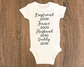 Trending Now - Pregnancy Announcement to Husband Baby Outfit | Pregnancy Reveal to Husband | New Baby Present |  Baby BodySuit Outfit