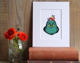 Grinch Frida Print, Grinch, Cartoon, Christmas, Frida, Frida Kahlo, Art Print