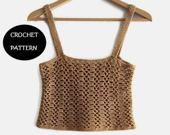 Pattern PDF crop top of summer to crochet in English and Spanish. Crochet blouse. Summer t-shirt. Short crochet top.
