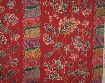 BRUNSCHWIG & FILS PILLAR Of India Cotton Printed Fabric 10 Yards Red Green Multi