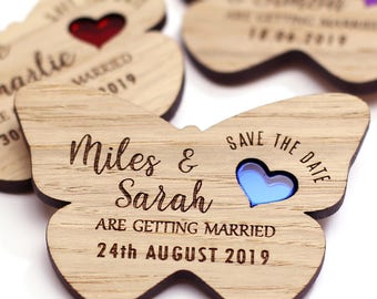 Save the date magnet, Wood save the date, Rustic Butterfly save the date, Wooden Save the date, Butterfly save the date, Wedding magnet
