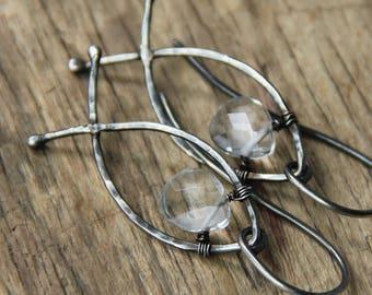 Sterling silver rhinestone earrings fish earrings rustic earrings boho rustic jewelry metalwork earrings arisan jewelry cristian simbol
