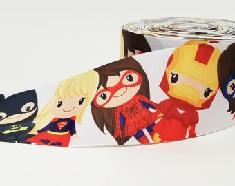 "3"" inch Super Hero Girls Superhero Super Heroes Superheroes - Printed Grosgrain Ribbon for 3 inch Cheer Hair Bow"
