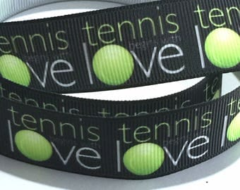 7/8 inch Tennis Love on Black Printed Grosgrain Ribbon for Hair Bow  Sports - Original Design