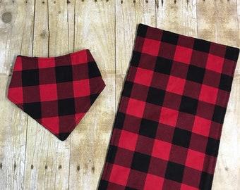 Buffalo Plaid Bandana Bib - Buffalo Plaid Burp Cloth - Lumberjack -  Shower Gift - Baby Boy Bib - Personalize - drool bib