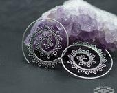 Lotus Espiral plata, aros indios, aros hippies, aros étnicos tribales, joyería hindú, bisutería étnica