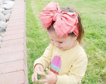 Ruffle Headband- Coral Ruffle Headband- Coral Headband- Coral Ruffles- Headband- Ruffle- Large Bow Headband - Headband- Knit Headband