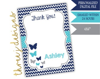 Butterfly Baby Shower Thank You Card - Personalized - Navy Blue, Teal, and Gray - Digital File - J007