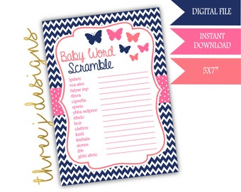 Butterfly Baby Shower Word Scramble Game - INSTANT DOWNLOAD - Navy Blue, Pink and Coral - Digital File - J003