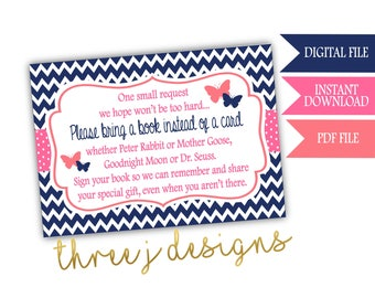 Butterfly Baby Shower Books for Baby Cards - INSTANT DOWNLOAD - Navy Blue, Pink and Coral - Digital File - J003