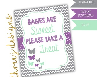 Butterfly Baby Shower Treat or Dessert Table Sign - INSTANT DOWNLOAD - Gray, Lavender and Mint - Digital File - J005