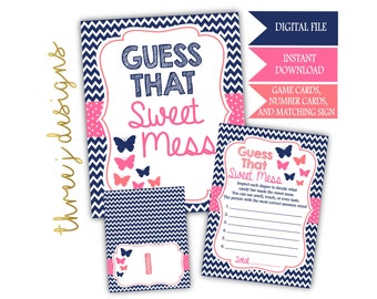 Butterfly Baby Shower Guess That Sweet Mess Game Cards and Sign - INSTANT DOWNLOAD - Navy Blue, Pink and Coral - Digital File - J003