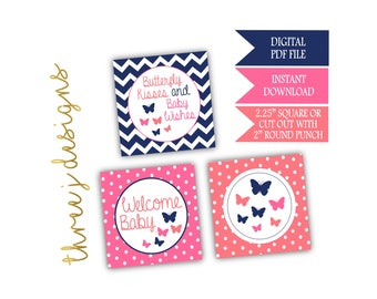Butterfly Baby Shower Cupcake Toppers - INSTANT DOWNLOAD - Navy Blue, Pink and Coral - Digital File - J003
