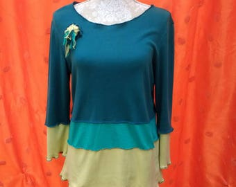 Ladies funky upcycled cotton jersey tri-colour t-shirt blue green