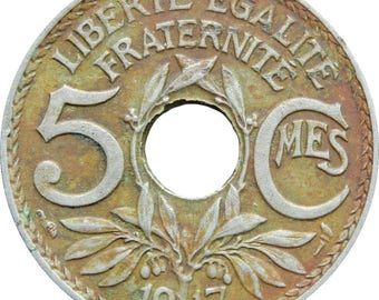 1917 5 Centimes France Coin