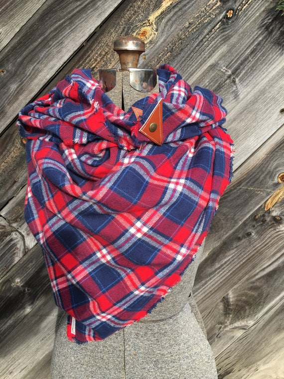 Red, navy and white plaid blanket scarf with leather detail