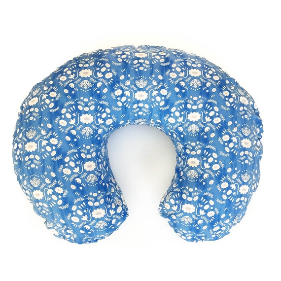 Boppy Cover in Flower Shop Folk in Blue - MADE-to-ORDER - Boppy Lounger Nursing Pillow blue floral boppy, boho boppy, blue bohemian boppy