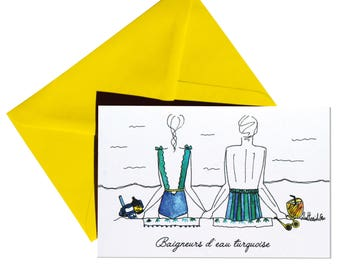 Map double turquoise back bathers, Daffodil yellow envelope.