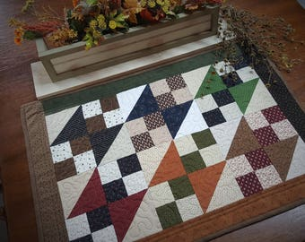 Quilted Table Topper,  Country Table Topper, Patchwork Table Topper, Handmade, Primitive, Quilted Table Runner