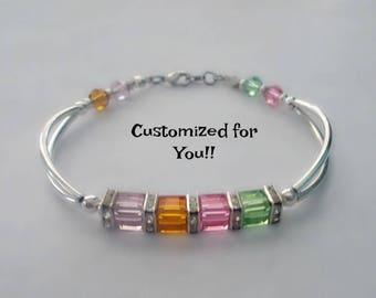 Personalized Family Birthstone Bracelet, Mother's Bracelet, Custom Swarovski Birthstone Jewelry, Gift for Mom, Grandma Mother's Day Gift