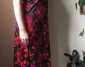 Vintage 70's halter floral maxi dress