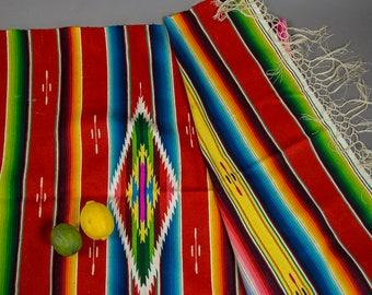 50's Vintage Mexican Serape Blanket, Vintage Mexican Serape Blanket, Vintage Mexican Wool Handwoven Serape