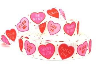 Valentines Ribbon, Valentines Day Ribbon, Valentines Grosgrain, heart ribbon, heart grosgrain, candy heart ribbon, heart holiday ribbon