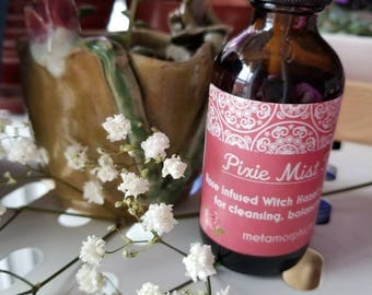PIXIE MIST Facial Toner Spray for Refreshing, Cleansing, Balancing, and Tightening Skin with Rose Infused Witch Hazel and Essential Oils