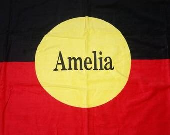 Personalised Aboriginal bath Towel, personalised towel, kid towel, custom towel, baby gift, personalised gift, wedding gift, easter,
