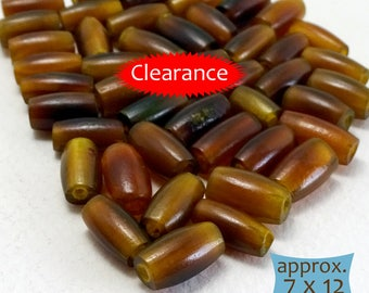 Long Oval Horn Beads Amber Brown--10 Pcs | MGHN30G-10