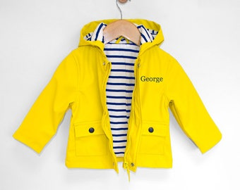 Personalised Baby Raincoat, Baby Rain Jacket, Baby Yellow Jacket, Personalized Baby Rain Jacket, Baby Boy Jacket, Baby Girl Jacket